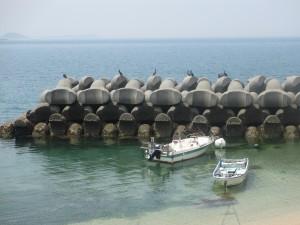 波消しブロックとボート